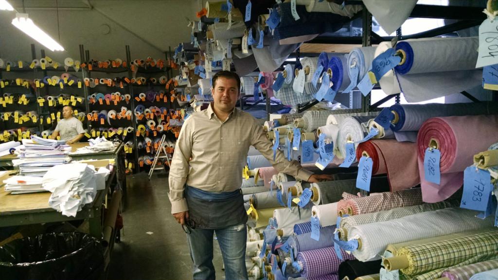 Mitch Gambert in the Mel Gambert Shirt Factory in Newark