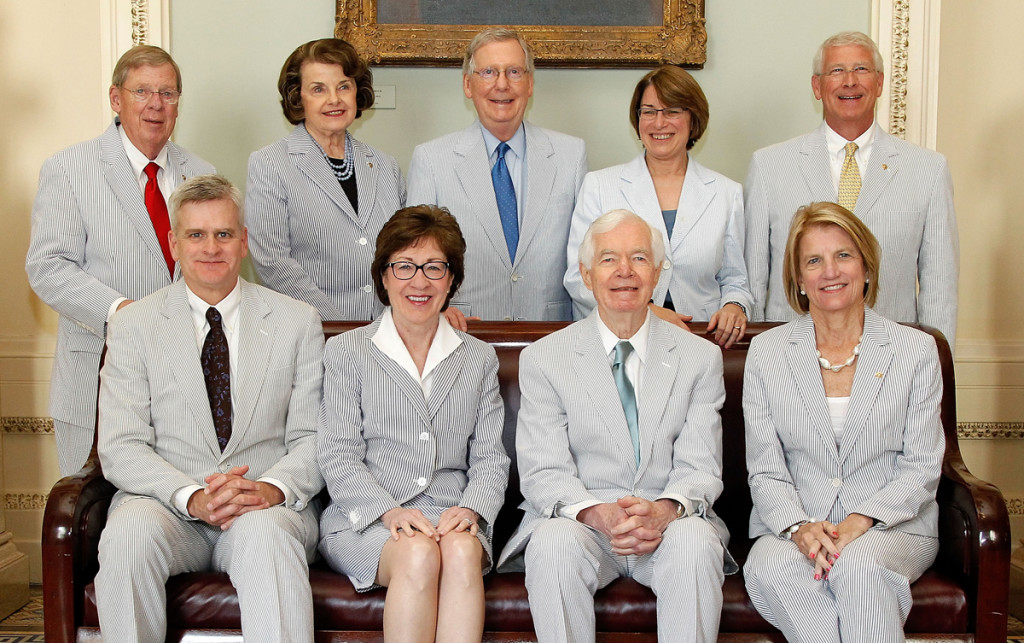 (Front Row L to R) Bill Cassidy, Susan Collins, Thad Cochrane and Shelley Capito; (Back Row L to R) John Isakson, Diane Feinstein, Mitch McConnnell, Amy Klobacher, and Roger Wicker (Photo: Paul Morigi/Getty Images for Haspel)